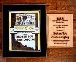 Picture of our award for our stellar Broken Bow cabin property management.